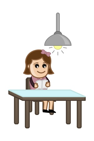 Woman Reading Alone - Cartoon Oficina Ilustraci�n Vector