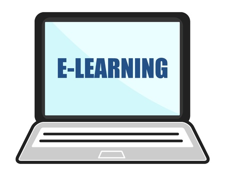 elearning: E-Learning Laptop Concept Illustration