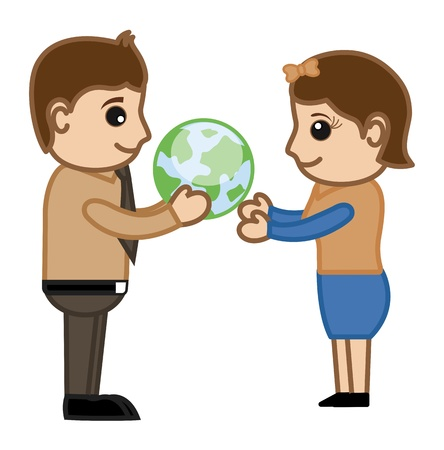 Man Presenting Globe to Lady - Cartoon Office Vector Illustration