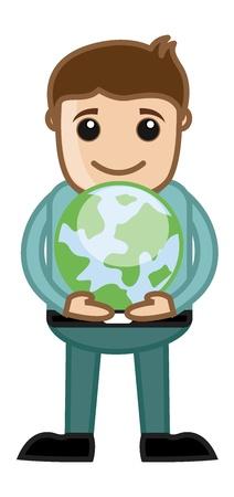 international students: Boy Holding an Earth Sign - Cartoon Office Vector Illustration