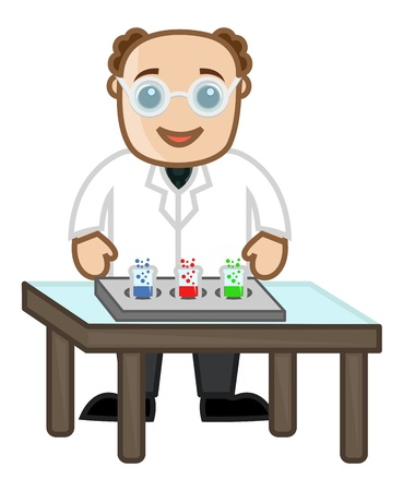 Scientist Experimentation - Cartoon Office Vector Illustration Vector