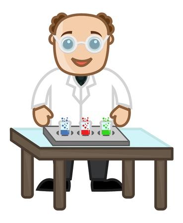 experimentation: Scientist Experimentation - Cartoon Office Vector Illustration Illustration