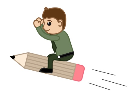 Man Flying on Pencil - Creative Concept - Office Character Vectors Vector