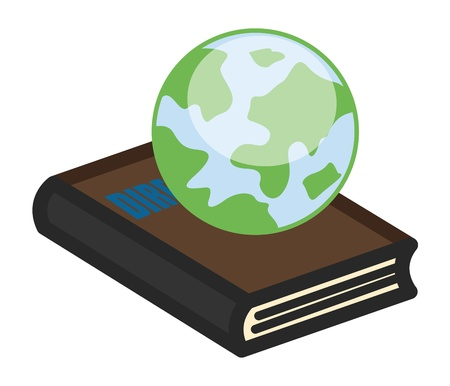 Earth on Book - Office Character Vectors Vector