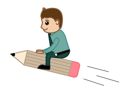 Man Riding on Pencil - Creative Office Character Vectors Vector