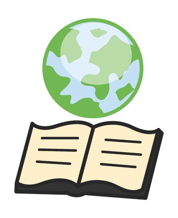 knowledge concept: Earth and Open Book - Geography Knowledge Concept - Office Character Vectors