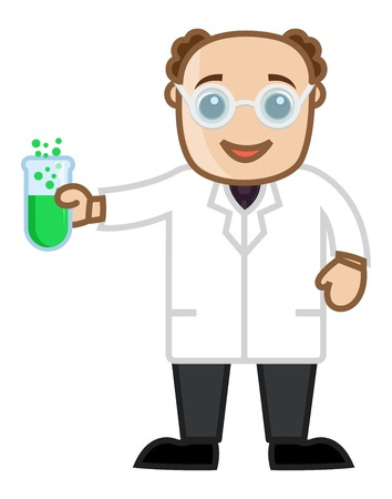 Man Experimenting with Chemicals - Office Character Vectors Vector