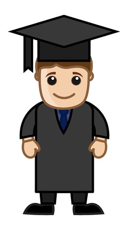 happiness or success: Man in Graduation Dress