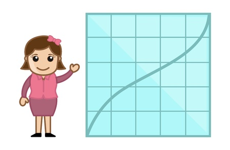 Graph Bar Lady - Business Cartoon Character Vector Stock Vector - 21092276