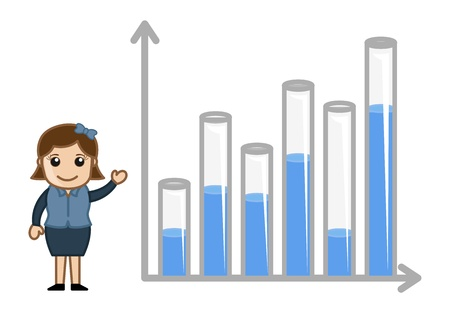 yearly: Showing 3D Graph for Yearly Stats - Business Cartoon Character Vector Illustration