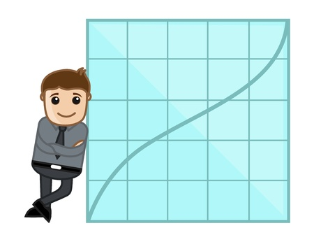 Man Showing Success Graph - Business Cartoon Character Vector Stock Vector - 21092282