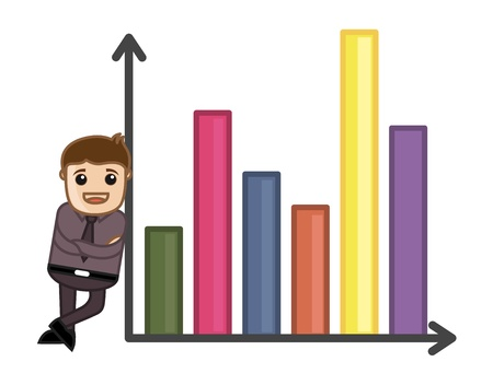 Man Standing with Retro Graph - Business Cartoon Character Vector Stock Vector - 21092124