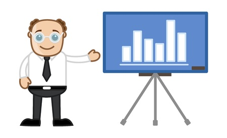Businessman Showing Stats Over Projector Stock Vector - 21092290