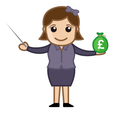 Lady Showing How to Invest Your Savings - Business Cartoon Character Vector Ilustrace