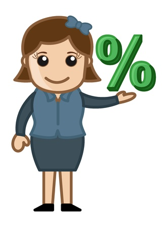 Woman Having Percentage Sign Vector