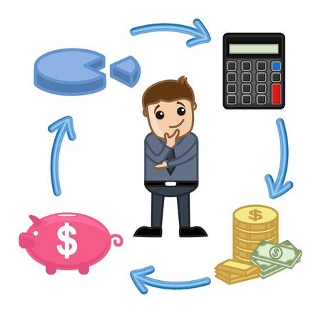 Budget, opslaan, Bereken, Invest Circle - Zakelijk Cartoon Vectoren