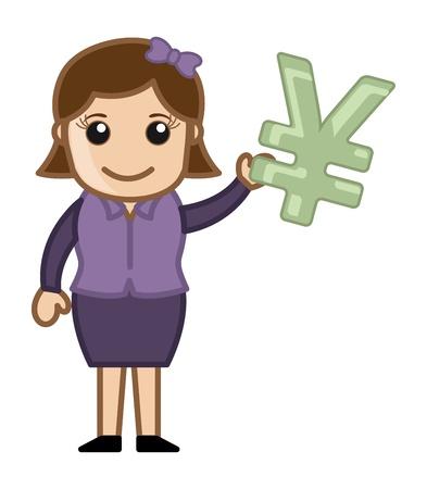 yen sign: Mujer que tiene Yen Sign - Negocios Cartoon Vector de caracteres Vectores