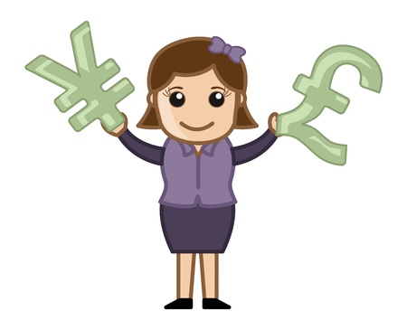 Comparing Two Currencies - Business Cartoon Character Vector Vector