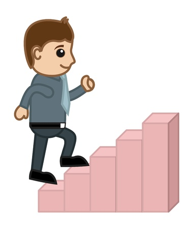 Man Stepping Up - Business Cartoon Character Vector Stock Vector - 21098179