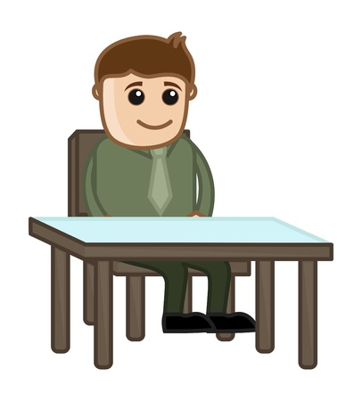 Man Waiting on Reception - Business Cartoon Character Vector Vector