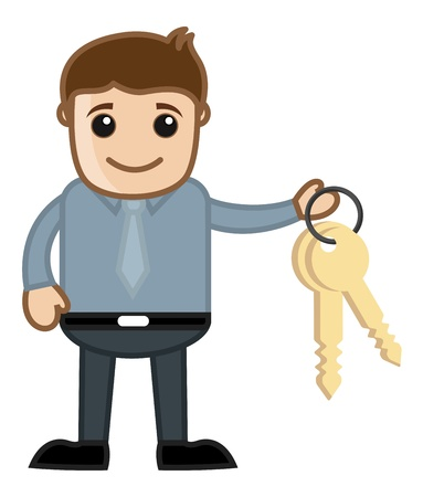 serviceman: Man with Keys - Real Estate - Vehicle Loan Concept - Business Cartoon Character Vector