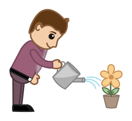 Man Watering Flower Plant - Business Cartoon Character Vector Vector