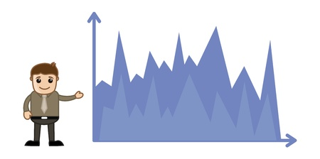 Man Showing Finance Graph - Business Cartoon Character Vector Stock Vector - 21098184
