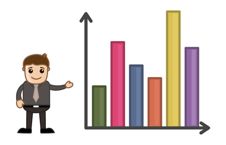 Man Standing with Statistic Chart - Business Cartoon Character Vector Stock Vector - 21098187
