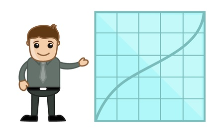 Man Showing Increasing Graph Line - Business Cartoon Character Vector Stock Vector - 21098188