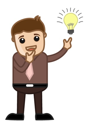 Idea Bulb Lit - Business Cartoon Character Vector Stock Vector - 21098189
