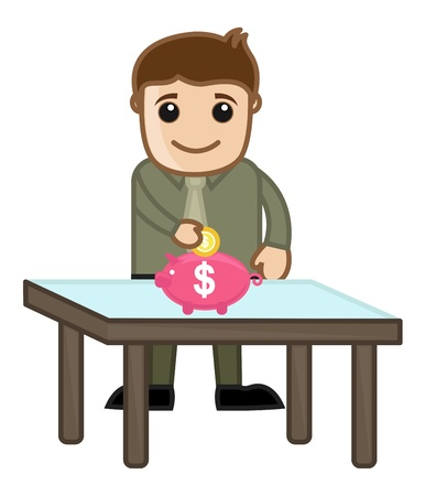 Saving Money - Piggy Bank - Business Cartoon Character Vector Vector
