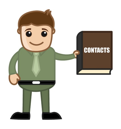 directorio telefonico: Hombre con Directorio Telef�nico - Negocios Cartoon Vector de caracteres Vectores
