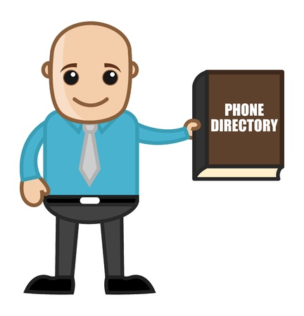 Bald Man with Phone Directory Stock Vector - 21098198