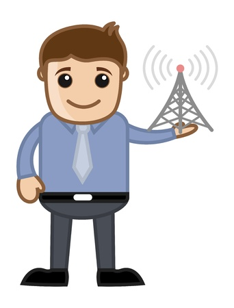 Mobile Tower - Business Cartoon Character Vector Stock Vector - 21098199