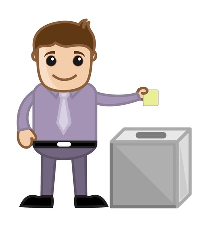 Man Voting - Business Cartoon Character Vector Vector
