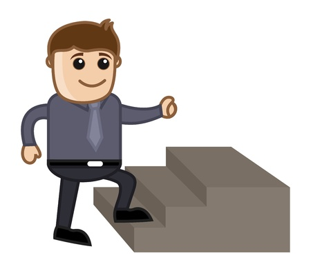 Man Stepping Up - Business Cartoon Character Vector Stock Vector - 21098204