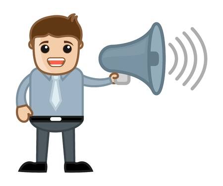 Man Announcing - Business Cartoon Character Vector Vector