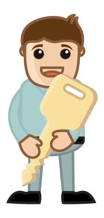 Man with Key - Business Cartoon Character Vector Stock Vector - 21098209