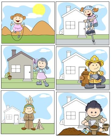 Kids Vector Illustration in Cartoon Style Stock Vector - 21098210