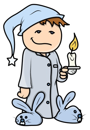 sleepily: Kid with Candle at Night - Vector Cartoon Illustration