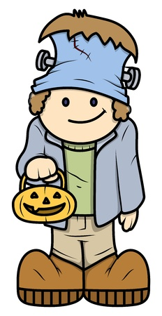 clipart frankenstein: Kid in Halloween Costume - Vector Cartoon Illustration