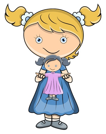 baby hairstyle: Little Girl Playing with Doll - Vector Cartoon Illustration