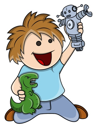 dinosaur cartoon: Cabrito que juega con los juguetes - Vector ilustraci�n de la historieta