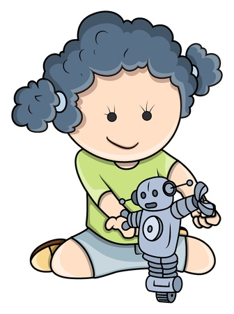 Small Girl Playing with Robots - Vector Cartoon Illustration Stock Vector - 21092264