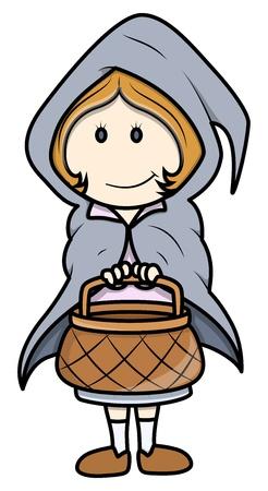 Little Girl on Halloween - Vector Cartoon Illustration Stock Vector - 21092270
