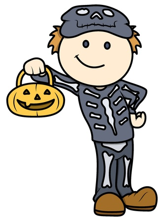 Halloween Kid - Vector Cartoon Illustration Vector