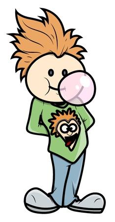 bubble gum: Stylish Boy Blowing Bubble Gum - Vector Cartoon Illustration