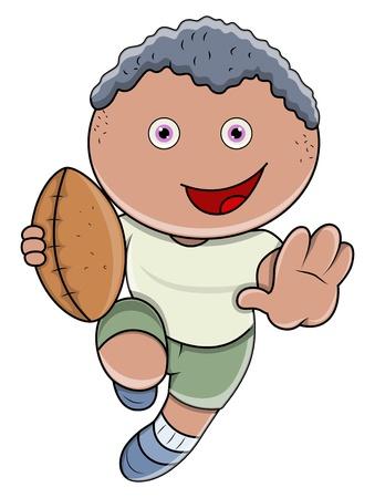 Little Boy que juega Rugby - Vector ilustración de la historieta
