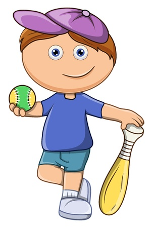 Little Kid Playing Baseball - Vector Cartoon Illustration Vector