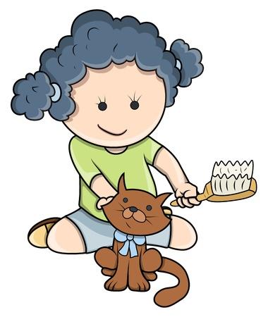 young girl bath: Small Girl Giving Bath To Cat - Vector Cartoon Illustration Illustration